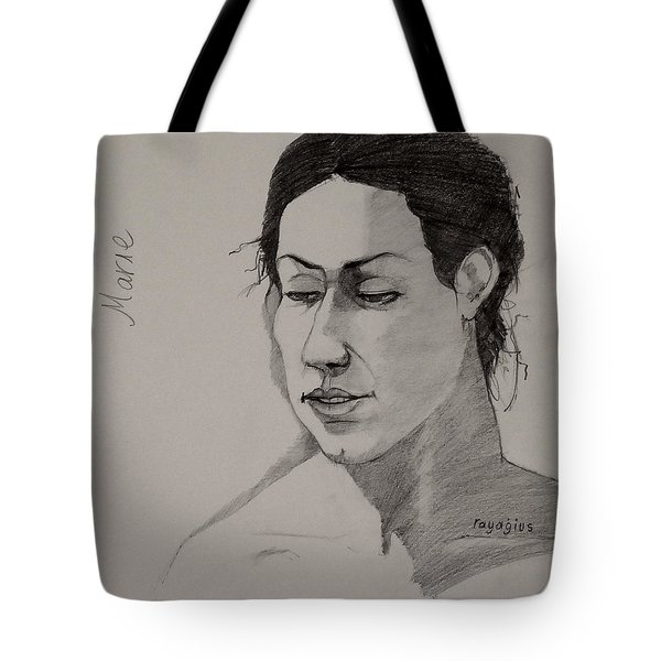 Tote Bag featuring the drawing Sketch For Marie 2 by Ray Agius