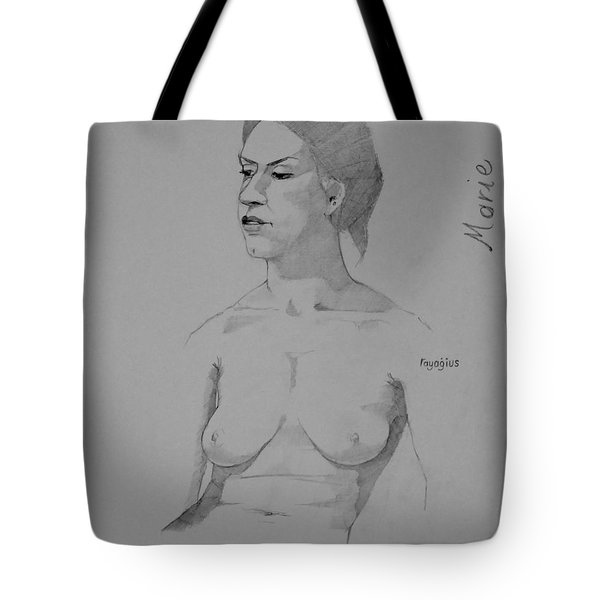 Tote Bag featuring the drawing Sketch For Marie Seated by Ray Agius