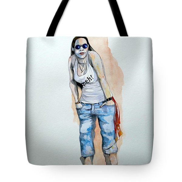 Tote Bag featuring the painting Sketch For Meh by Ray Agius