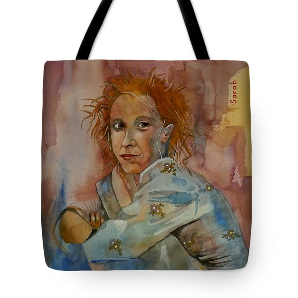 Tote Bag featuring the painting Sketch For Sarah by Ray Agius