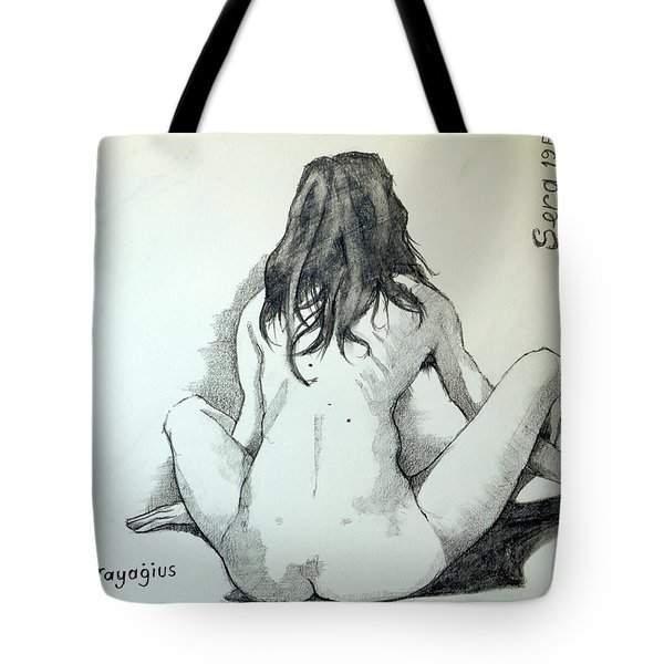 Tote Bag featuring the painting Sketch For Sera.10.02 by Ray Agius