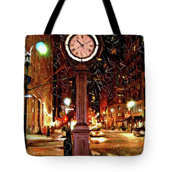 Sketch Of Midtown Clock In The Snow Tote Bag by Randy Aveille