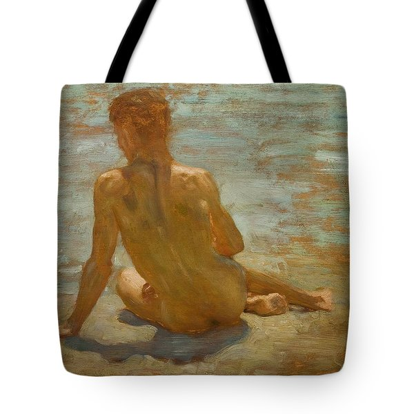Sketch Of Nude Youth Study For Morning Spelendour Tote Bag by Henry Scott Tuke