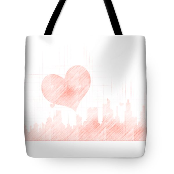 Sketch Of The City Skyline Tote Bag by Anton Kalinichev