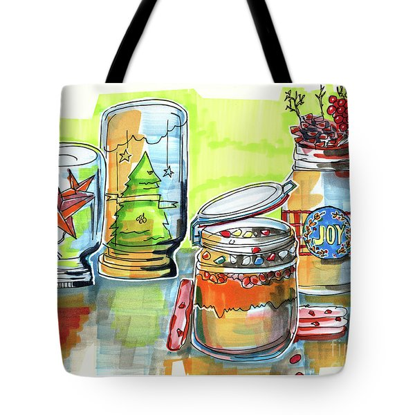 Tote Bag featuring the drawing Sketch Of Winter Decorative Jars  by Ariadna De Raadt