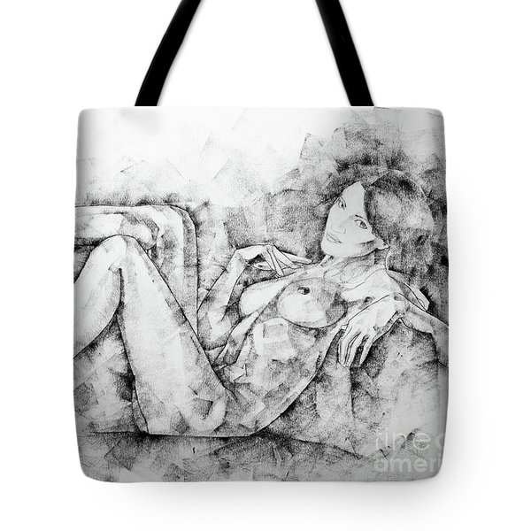 Sketchbook Page 46 Drawing Woman Classical Sitting Pose Tote Bag