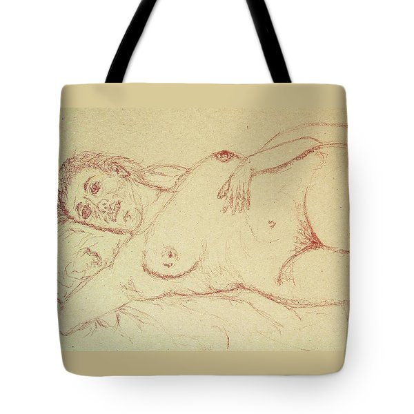 Nude Laying In Red Tote Bag by Rand Swift