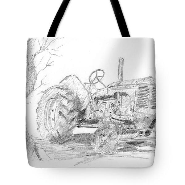 Sketchy Tractor Tote Bag
