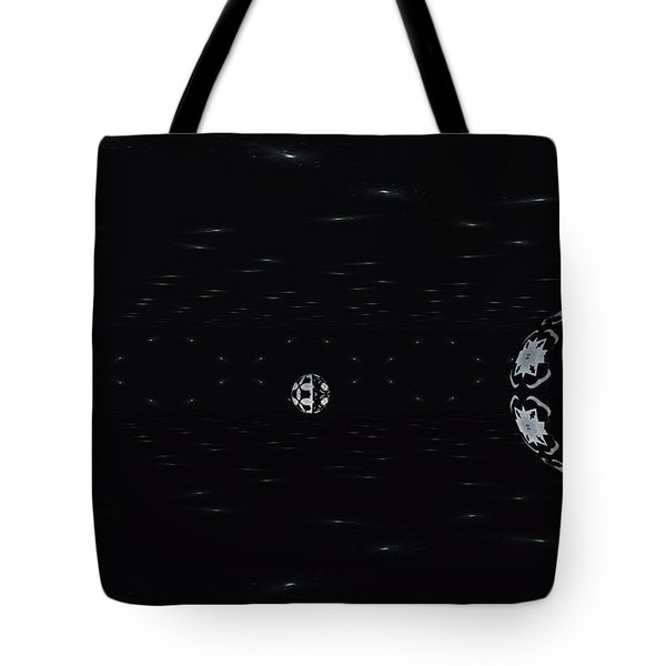 Tote Bag featuring the digital art Skewed Cone Orbit At Night by Sheila Mcdonald