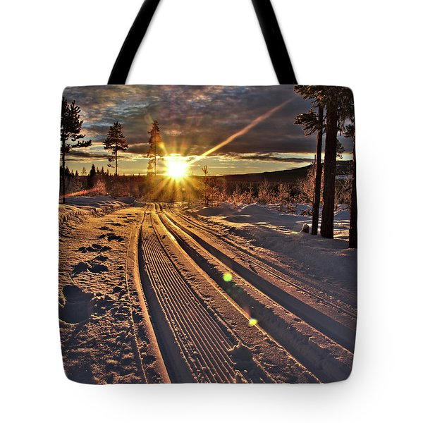 Ski Trails With Sun Beams Tote Bag