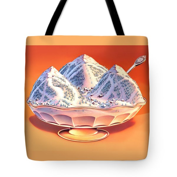 Skiers Sundae Tote Bag by Robin Moline