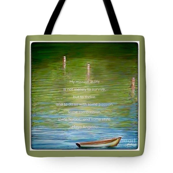 Skiff Boat Quote Tote Bag by Susan Garren