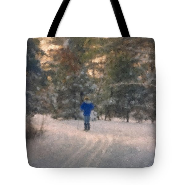 Skiing Borderland In Afternoon Light Tote Bag