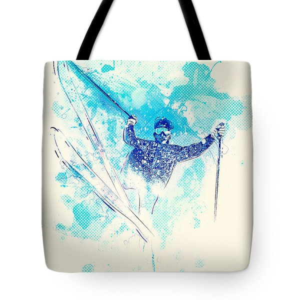 Skiing Down The Hill Tote Bag