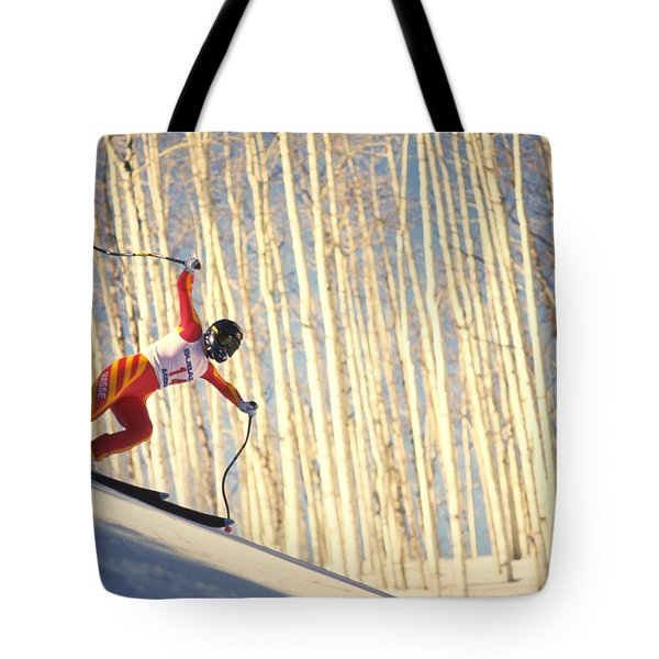 Skiing In Aspen, Colorado Tote Bag