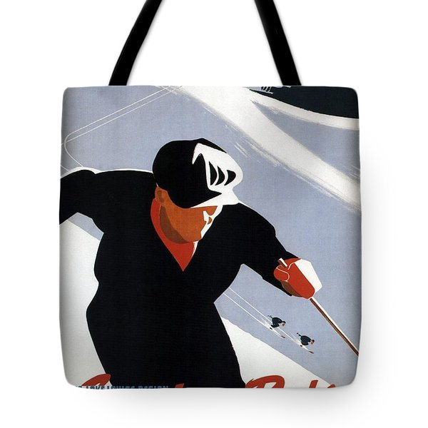 Skiing In The Canadian Rockies - Canadian Pacific - Retro Travel Poster - Vintage Poster Tote Bag
