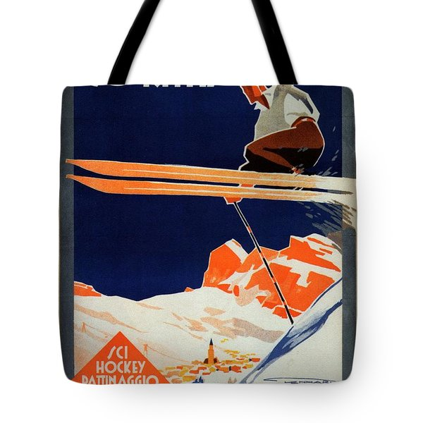Skiing On The Alps In Cortina - Ice Hockey Tournament - Vintage Advertising Poster Tote Bag