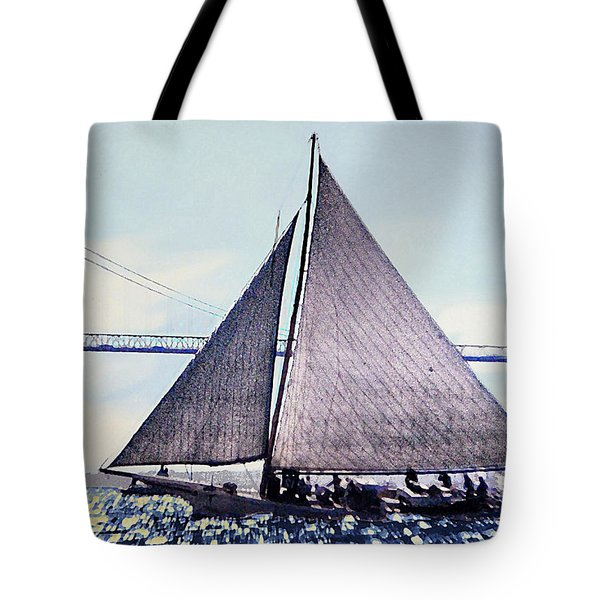 Skipjacks Racing Chesapeake Bay Maryland Contemporary Digital Art Work Tote Bag