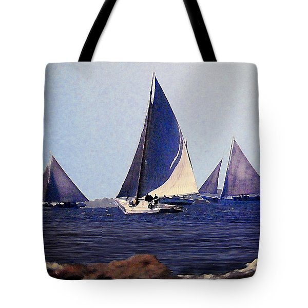 Skipjacks Racing IIi Chesapeake Bay Maryland Contemporary Digital Art Work Tote Bag