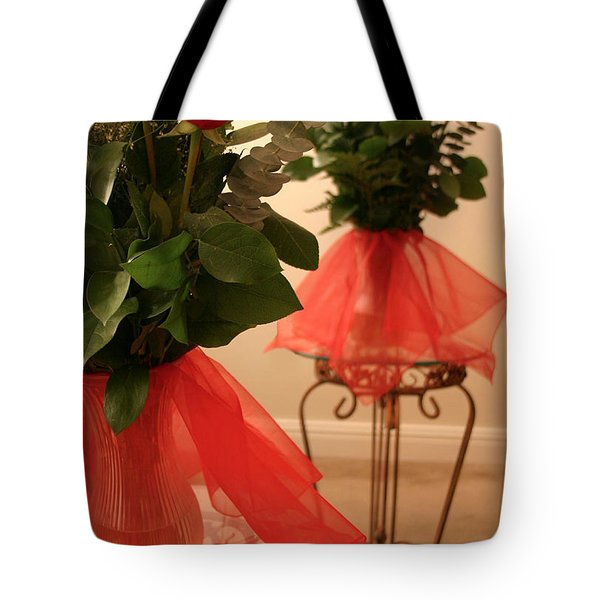 Skirted Roses In Mirror Tote Bag by Kristin Elmquist