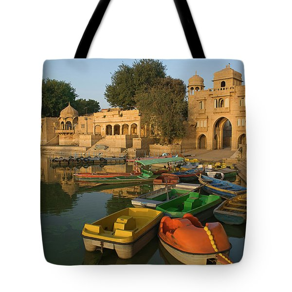 Skn 1391 A Visit To Gadisar Lake Tote Bag by Sunil Kapadia