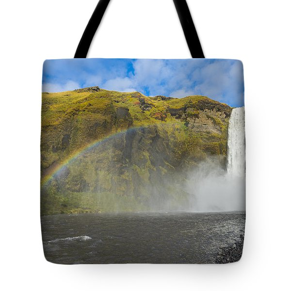 Tote Bag featuring the photograph Skogafoss Rainbow by James Billings