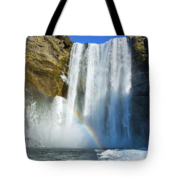 Tote Bag featuring the photograph Skogafoss Waterfall Iceland In Winter by Matthias Hauser