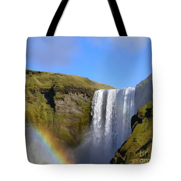 Skogafoss Waterfall With Rainbow 151 Tote Bag