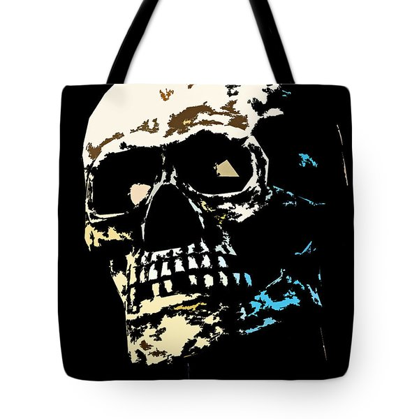 Skull Against A Dark Background Tote Bag