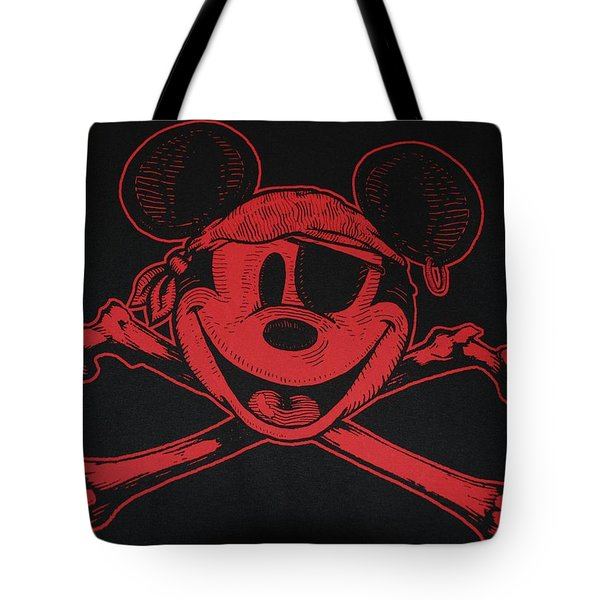 Skull And Bones Mickey In Red Tote Bag