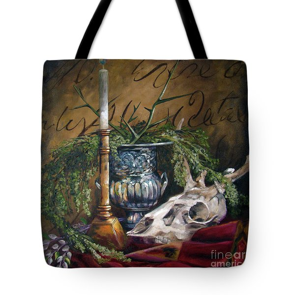 Skull And Candle Tote Bag