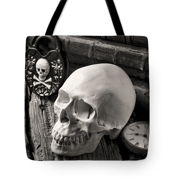 Skull And Skeleton Key Tote Bag by Garry Gay