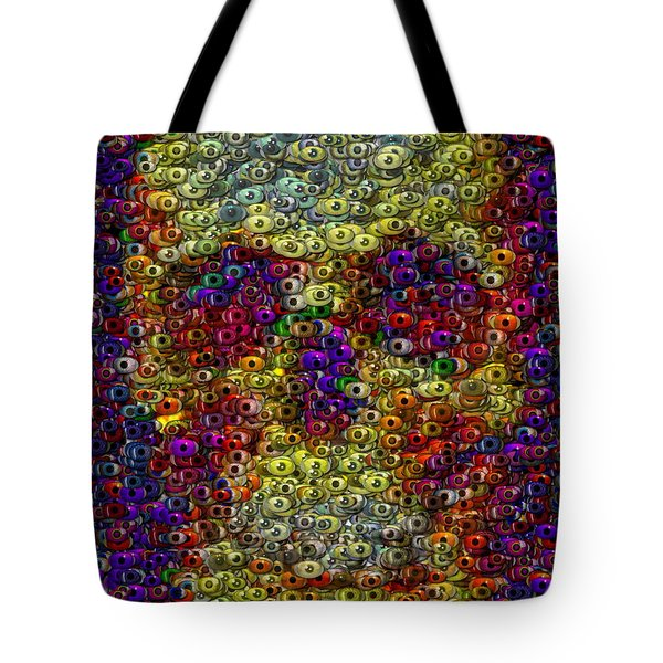 Tote Bag featuring the mixed media Skull Eyeball Mosaic by Paul Van Scott