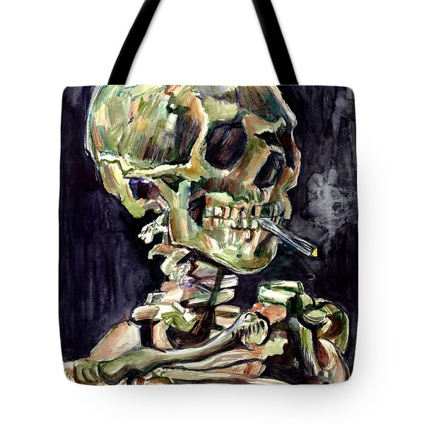 Skull Of A Skeleton With Burning Cigarette Tote Bag