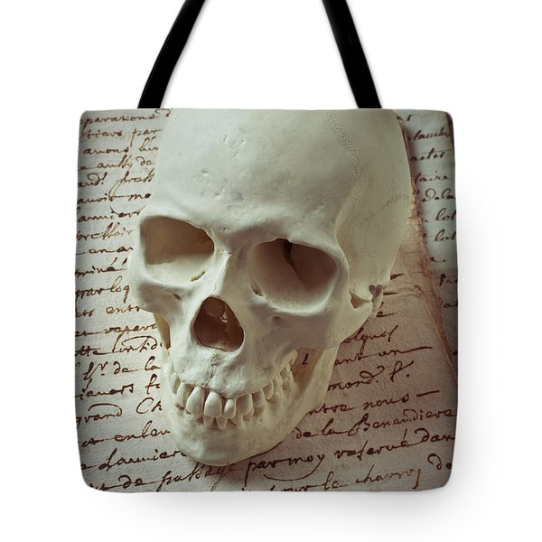 Skull On Old Letters Tote Bag by Garry Gay