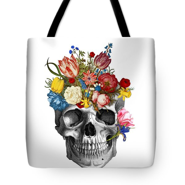 Skull With Flowers Tote Bag