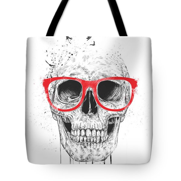 Skull With Red Glasses Tote Bag