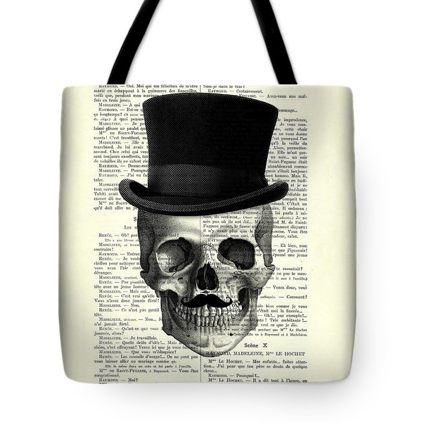 Skull With Top Hat And Moustache Tote Bag