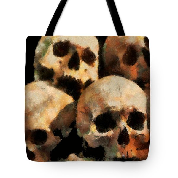 Tote Bag featuring the digital art Skulls by Charmaine Zoe