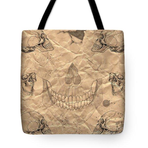 Skulls In Grunge Style Tote Bag by Michal Boubin