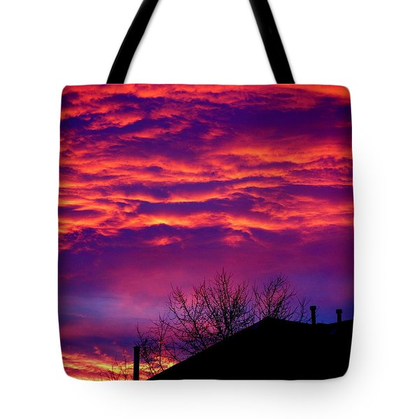 Tote Bag featuring the photograph Sky Drama by Valentino Visentini