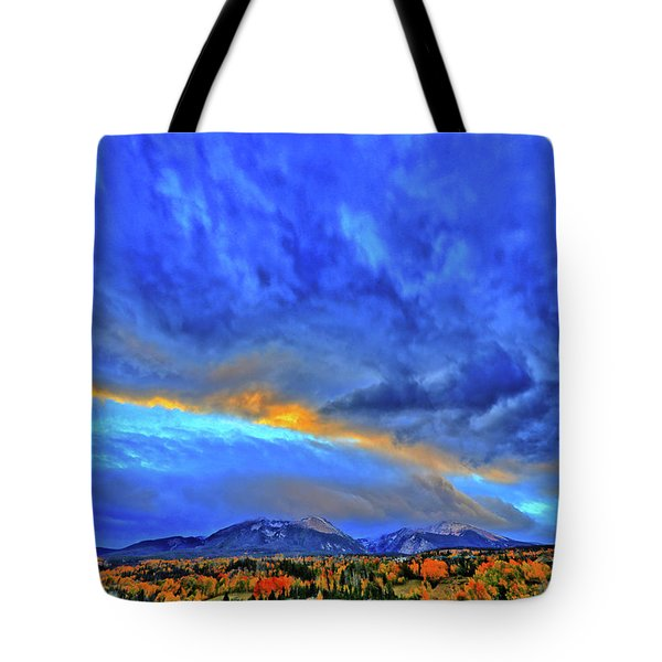 Tote Bag featuring the photograph Sky Fall by Scott Mahon