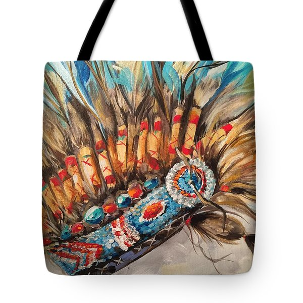 Sky Feather Detail Tote Bag