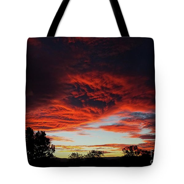 Tote Bag featuring the photograph Sky On Fire by Angela DeFrias