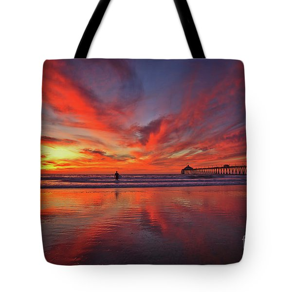 Sky On Fire At The Imperial Beach Pier Tote Bag
