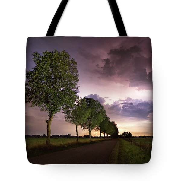 Trees And Lightning Tote Bag
