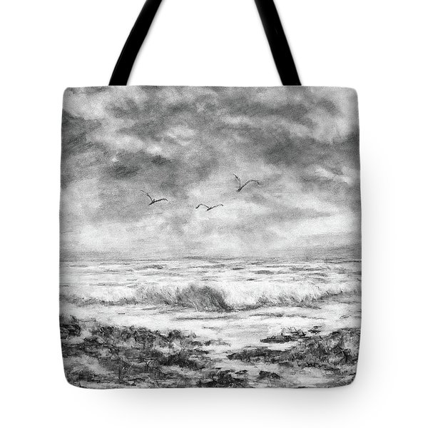 Tote Bag featuring the drawing Sky Rocks And Water by Michele A Loftus