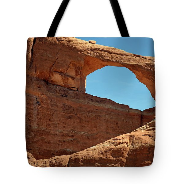 Tote Bag featuring the photograph Skyline Arch In Utah by Bruce Gourley