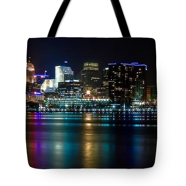 Skyline At Night Tote Bag by Keith Allen