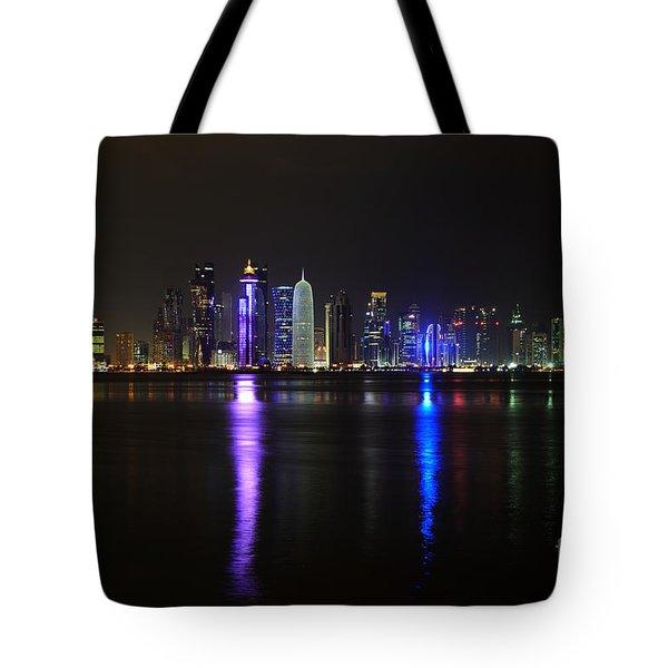 Skyline Of Doha, Qatar At Night Tote Bag